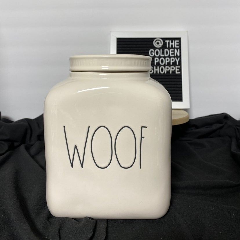 Rae Dunn WOOF Pet Canister