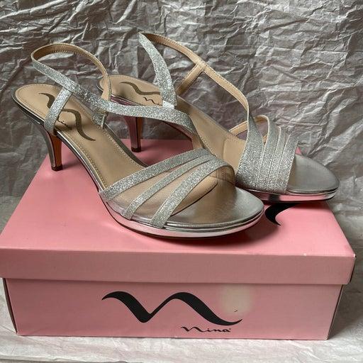 Silver Glitter Heels - Nina Shoes