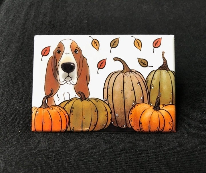 Basset Hound Autumn Fall Pumpkin Magnet