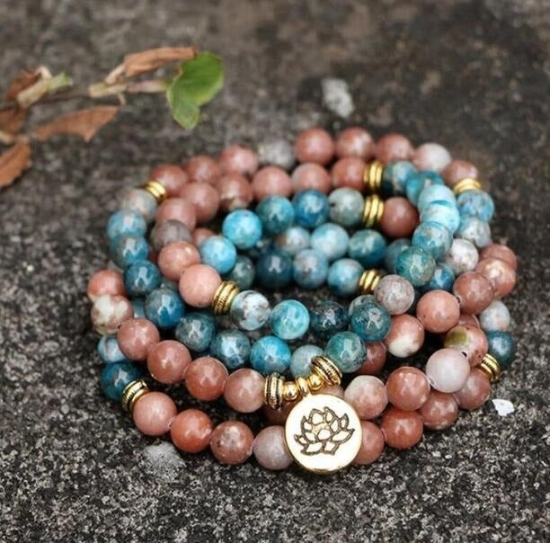 Blue Apatite mala necklaces