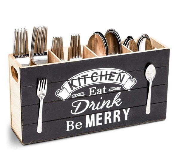 Rustic Wood Kitchen Utensil Holder