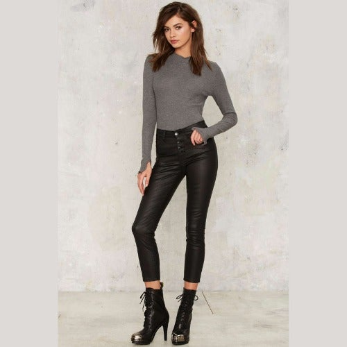 RES Denim Kitty Skinny Coated Wax Jeans