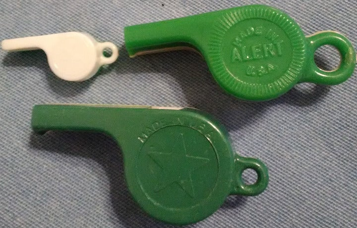 Vintage Toy Whistles Alert Made In USA