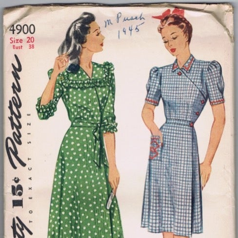 1945 Simplicity Pattern House Dress Robe