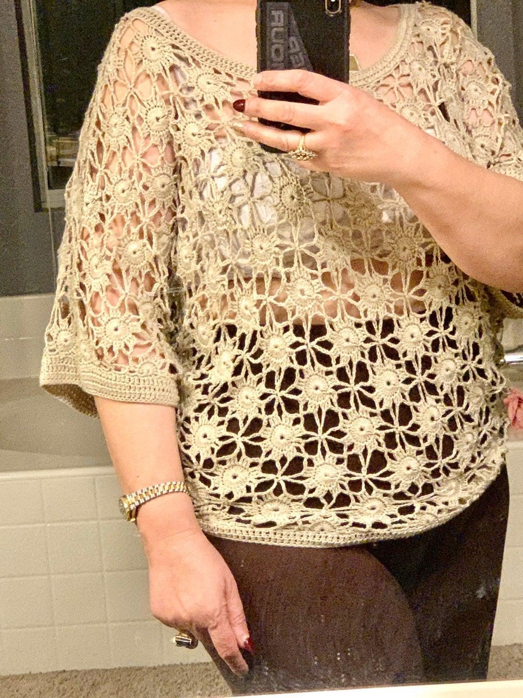 New elegant beige crochet top