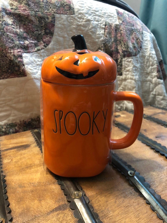 Rae Dunn Spooky mug with topper
