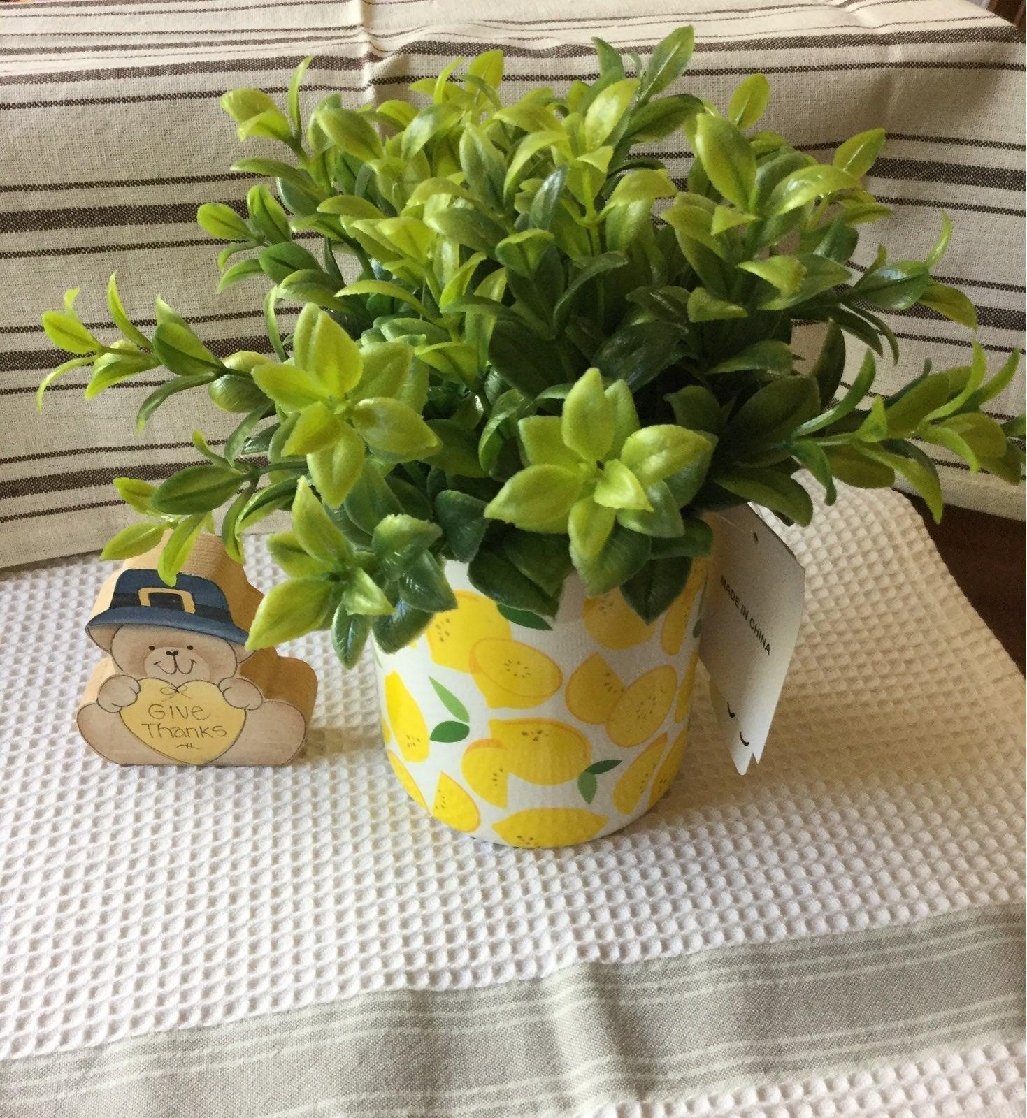 Ceramic Lemon Planter with Faux Plants