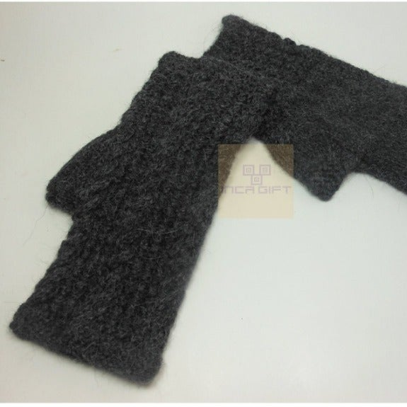 Black Handmade Alpaca Fingerless Gloves