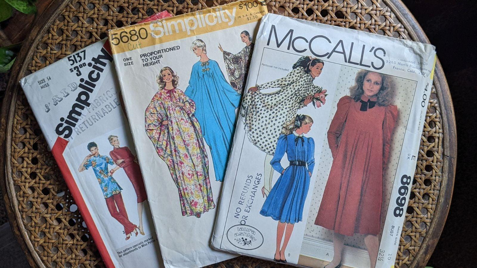 1970's/1980's vintage sewing pattern set of 3 -cottage caftan summer dress lot