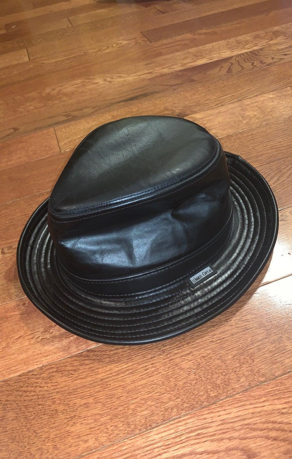 Mens leather fedora black hat new York
