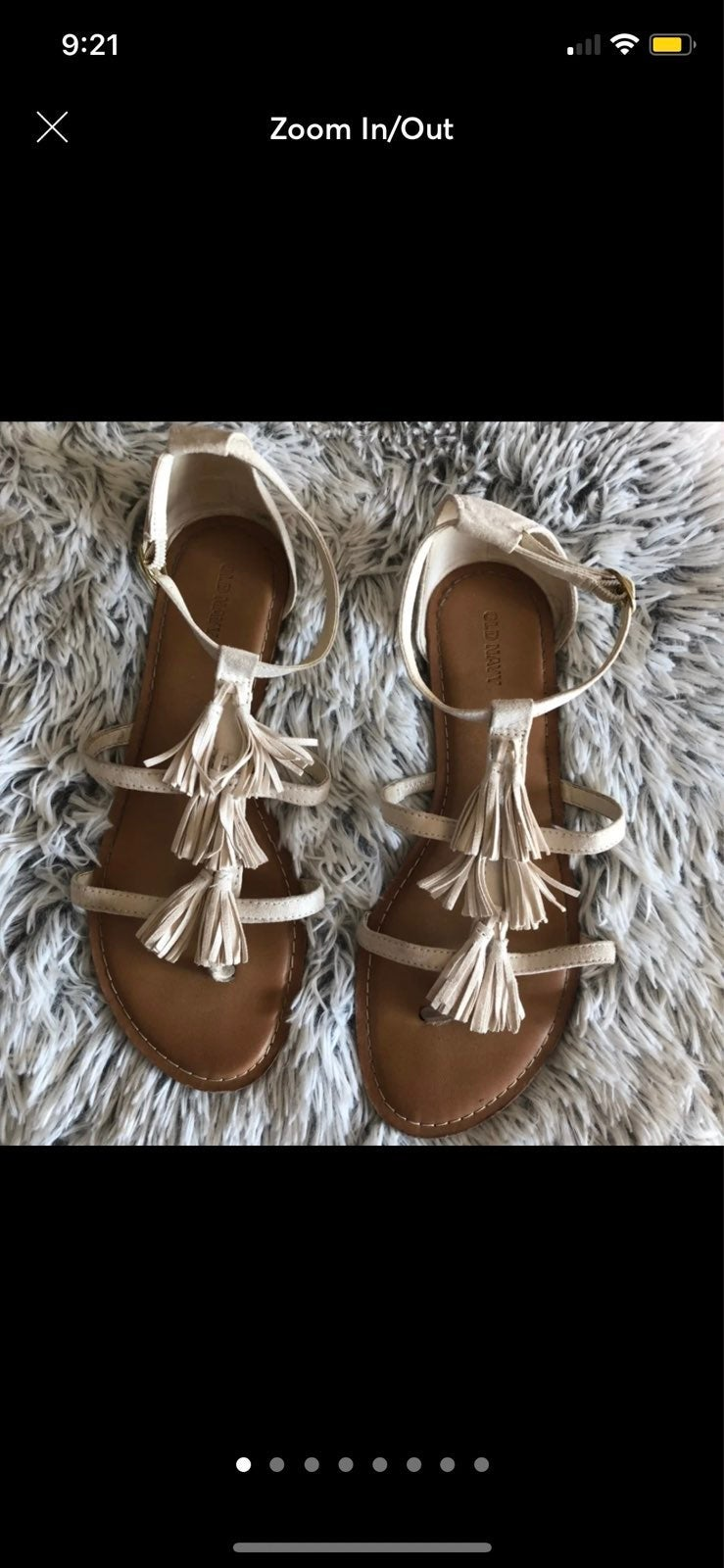 White Tassel Faux Suede Sandals