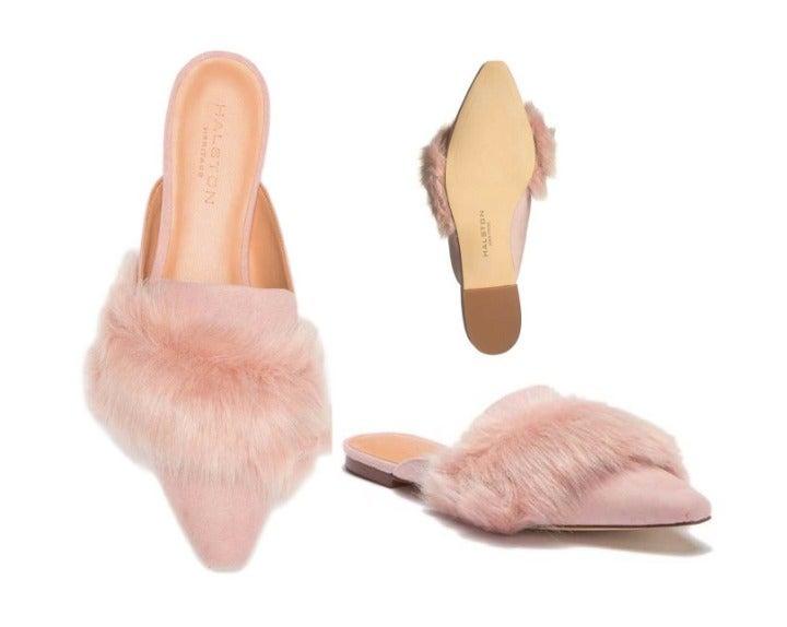 Halston Heritage Pink Lisa Faux Fur Mule