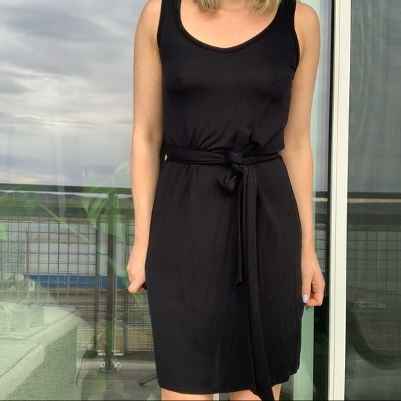 +NWT Club Monaco Black Midi Dress Tie Be