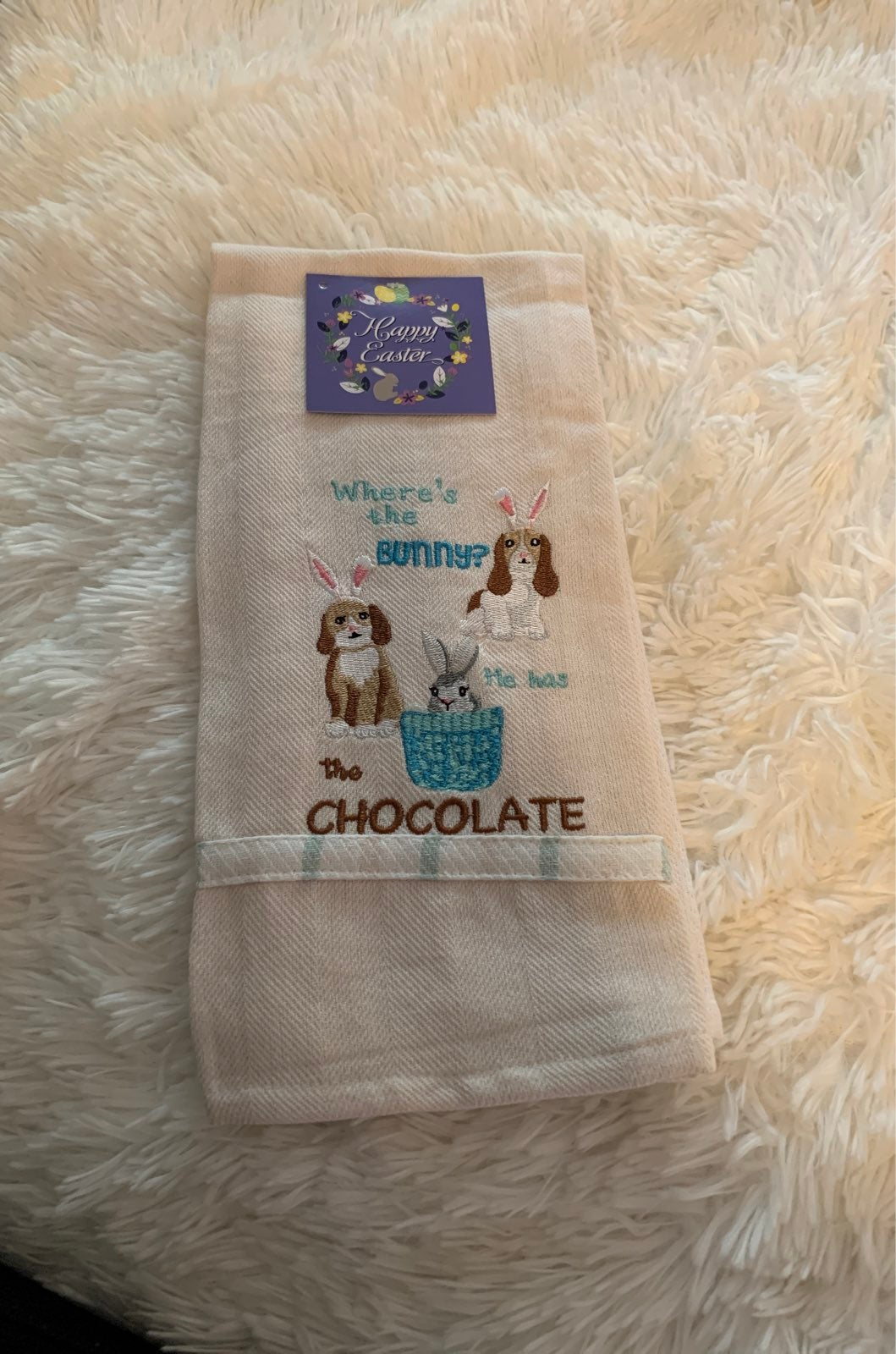 Nwt whimsical Easter dog kitchen towels