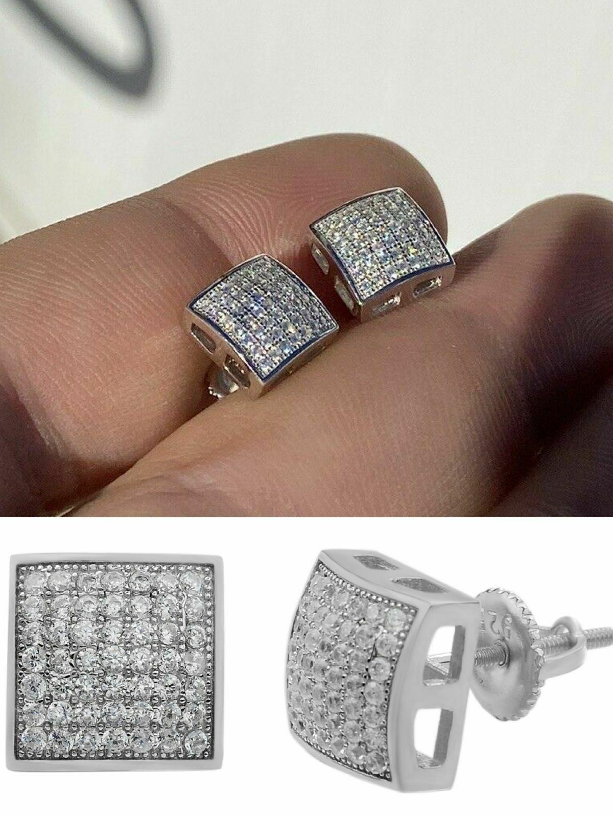 Men's Iced 925 Sterling Silver Earrings