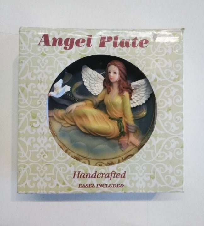 Handcrafted Angel Plate w/ Dove & Easel
