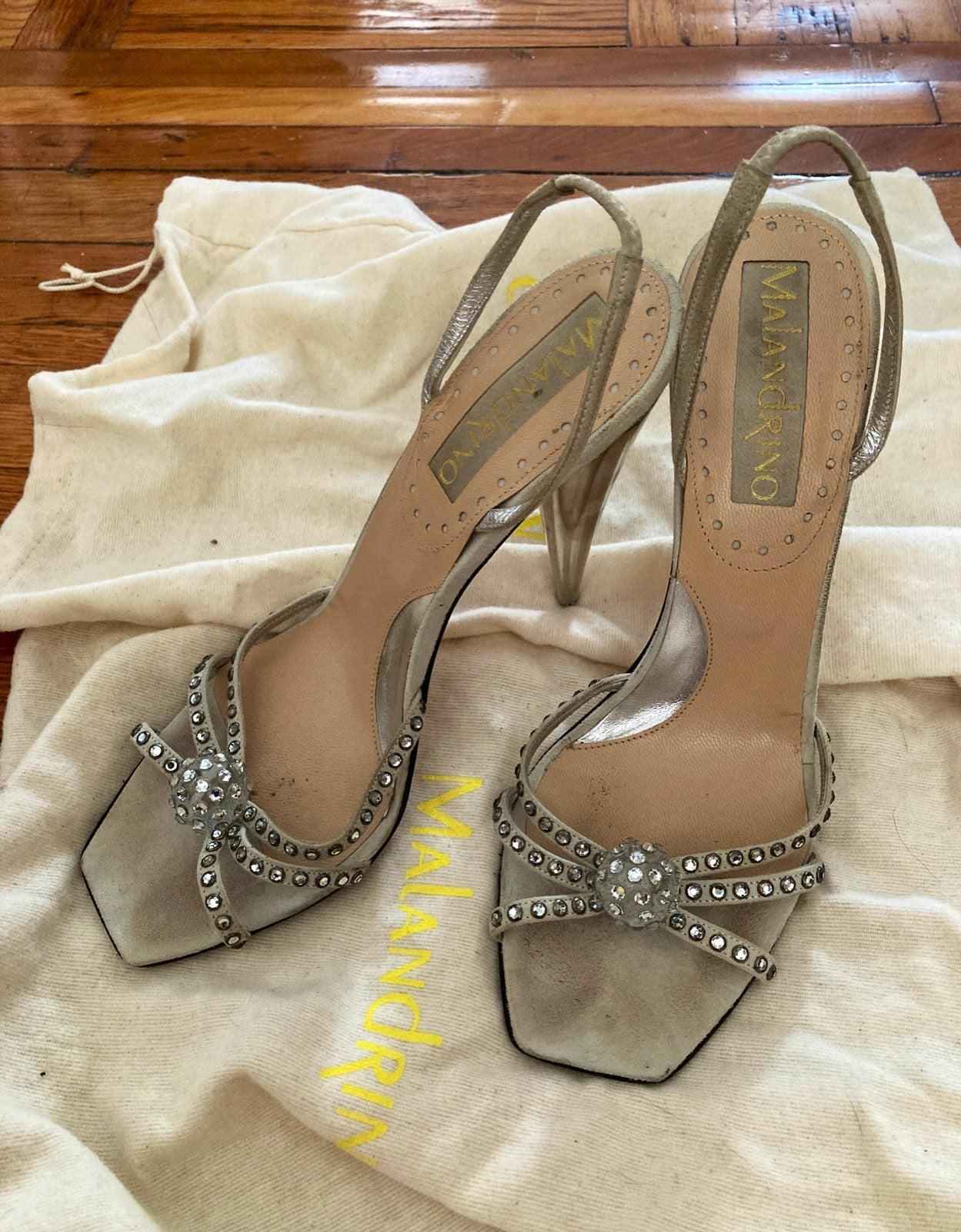 """Malandrino 4-1/2"""" silver high heels 39"""