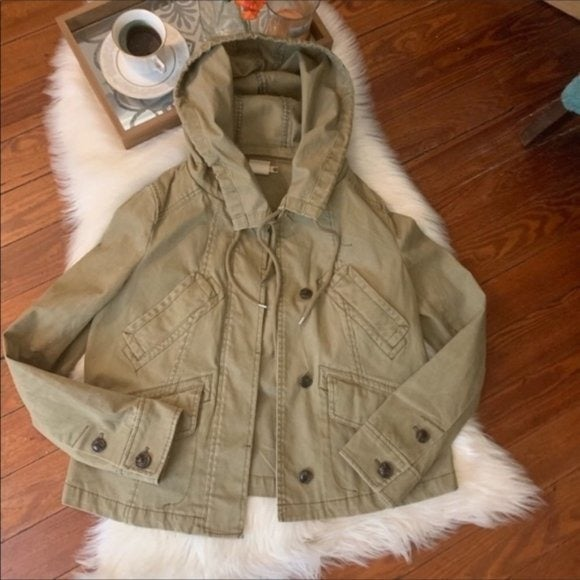 Anthropologie army green utility jacket