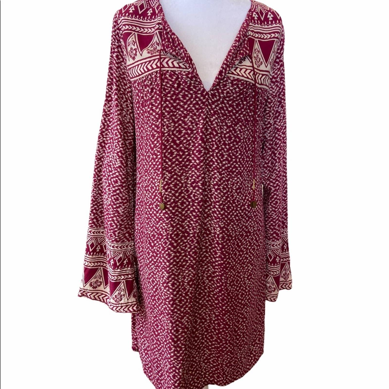 Billabong Tribal Boho Dress Long Sleeve