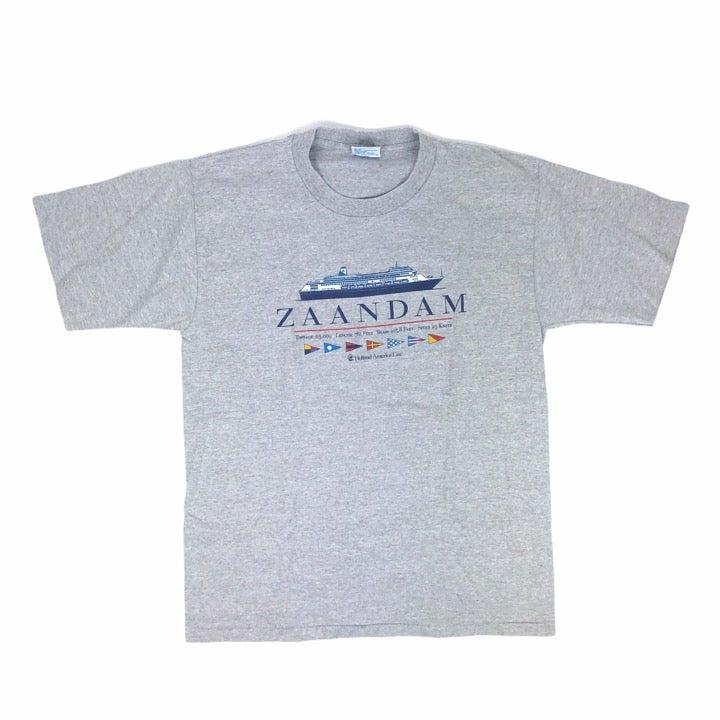 Vintage 90s Zaandam Holland Cruise Line Grey Single Stitch Shirt Size L USA