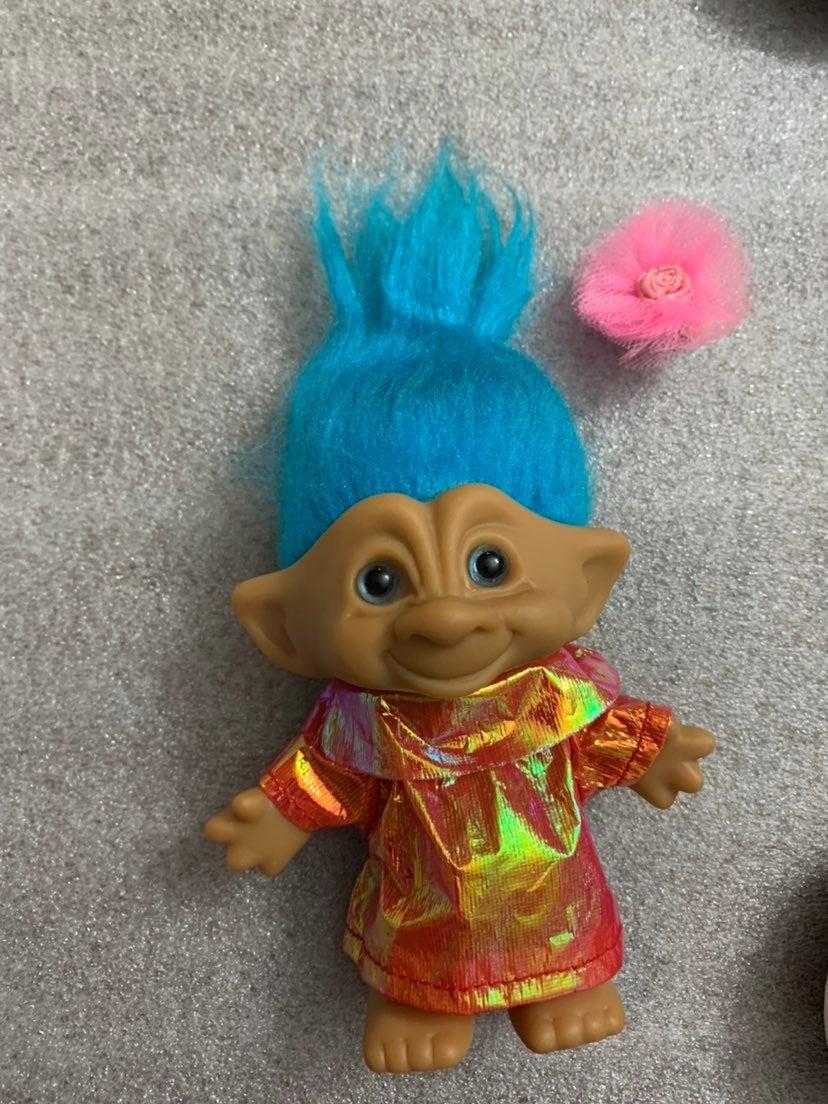 Vntg 90's Troll Blue Hair Eyes Belly Gem