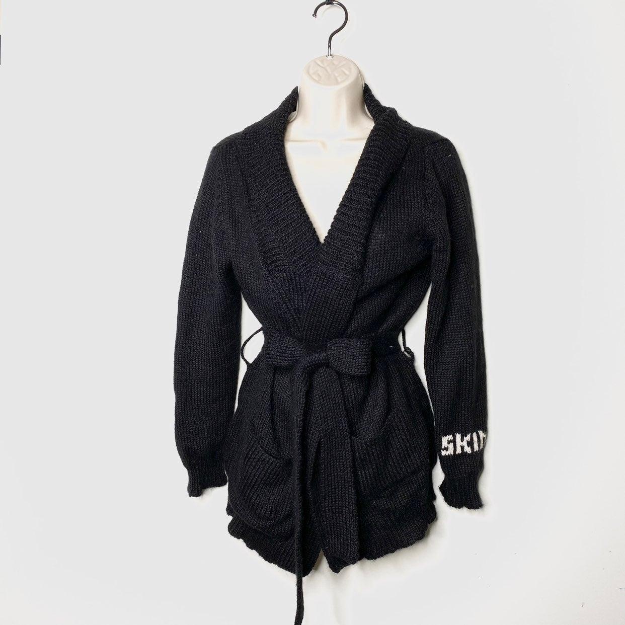 Skin black alpaca cardigan waist belt sw