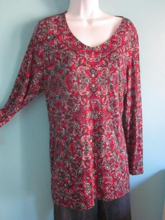 J Jill Womens 3/4 Slv Tunic Size M  Red