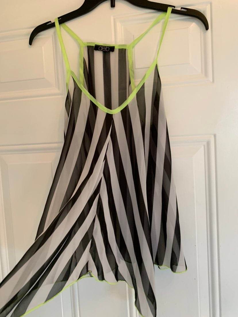 Ladies sheer striped tank with neon trim