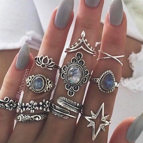 11pcs/set Vintage Stackable Rings NEW