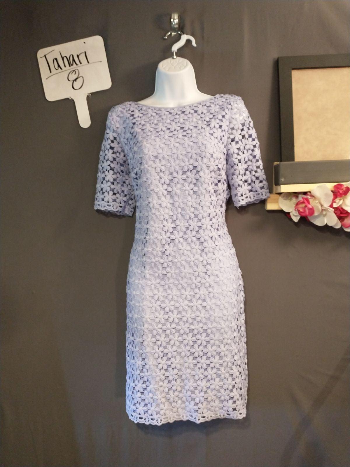 Tahari lace overlay lavender dress 8