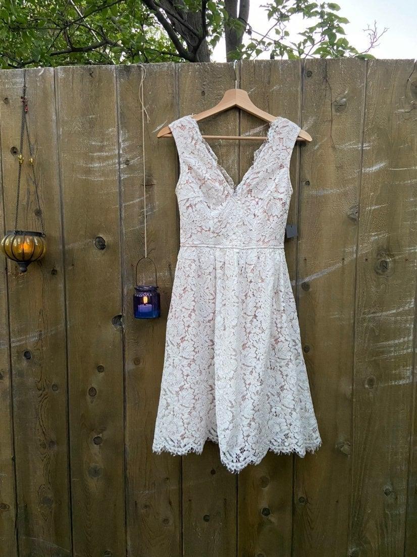 White Lace V Back Skater Dress