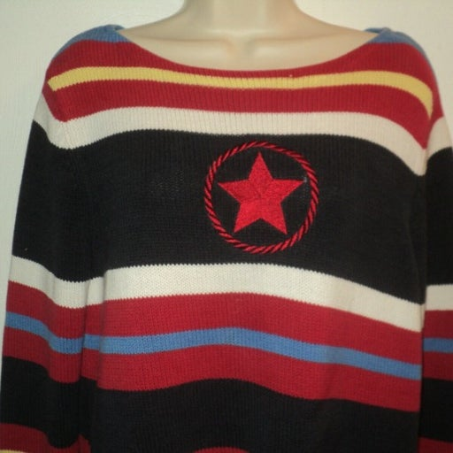 Crazy Horse Sweater M Boat Neck Stripes