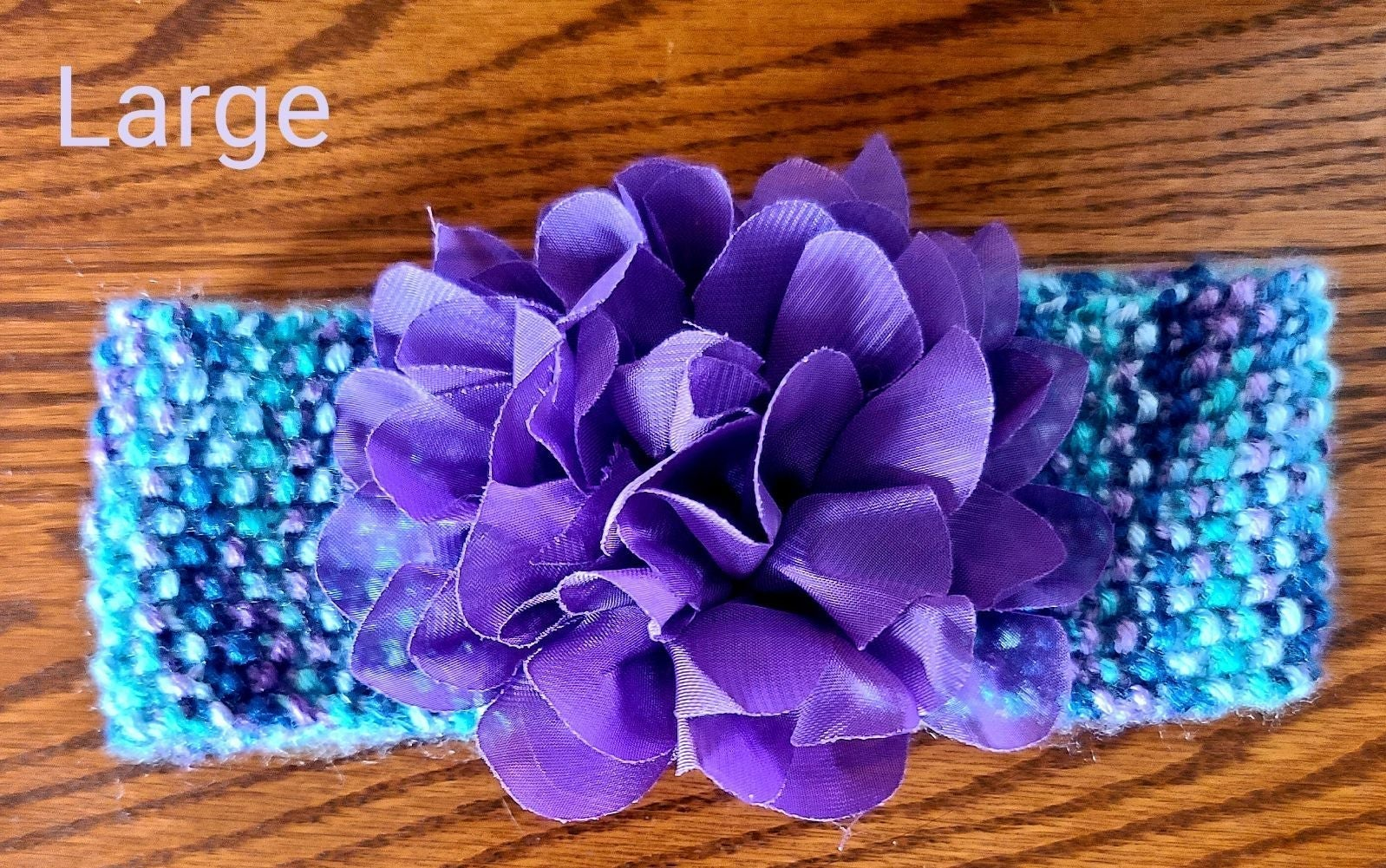 Knit Baby Headband Teal and Purple with