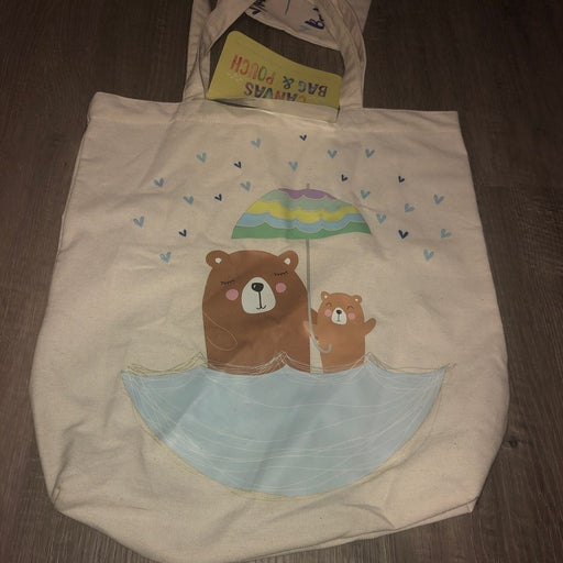 Momma Bear Canvas Tote With Pouch