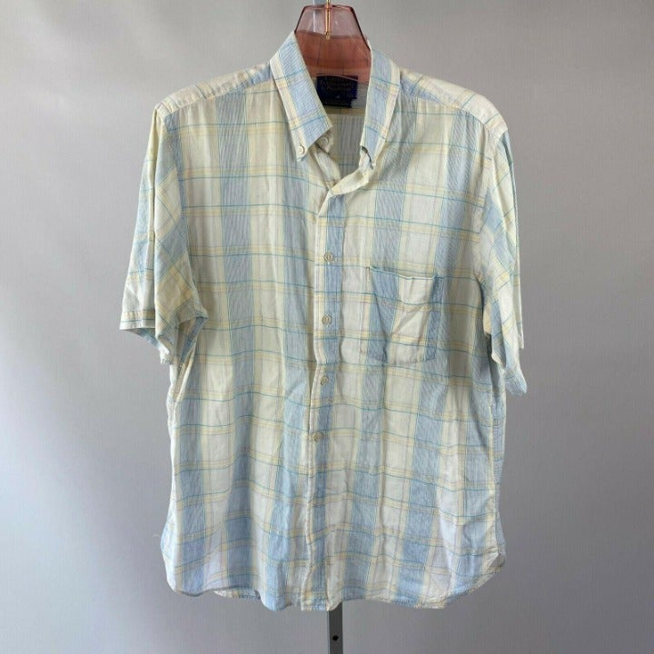 Vtg 70s Country Traditionals Pendleton Blue Yellow Plaid Short Sleeve Shirt Lg