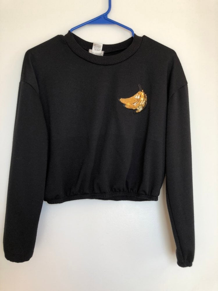 Black Banana Crop Top Sweater