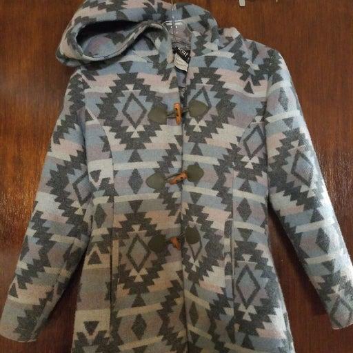 Aztec print pea coat