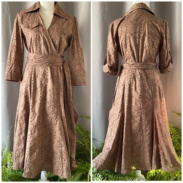 CAbi Brown Eyelet Brown Dress 8