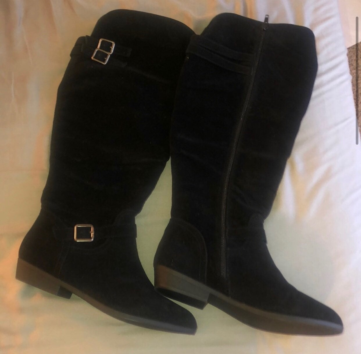 justfab black tall boots size 9 wide cal