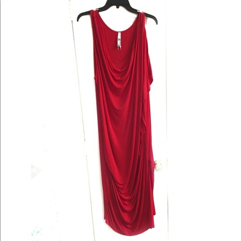 Seven7 red ruched knit dress