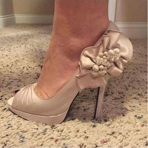 Nina Nude Bridal Heels Size 9.5