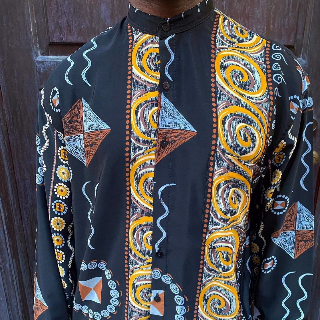 Vintage Batchi Uomo Abstract Button Up