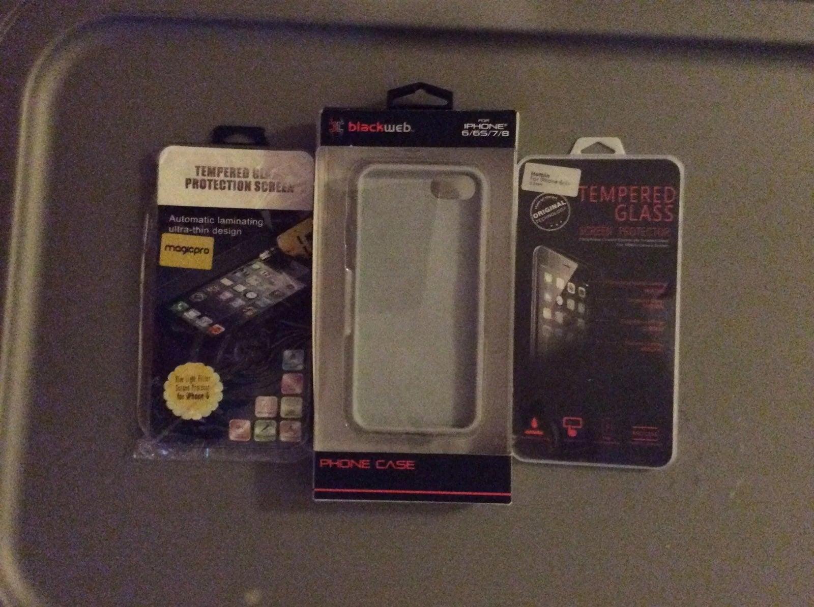 Iphone 6 Black Web Case + 2 Tempered Gla