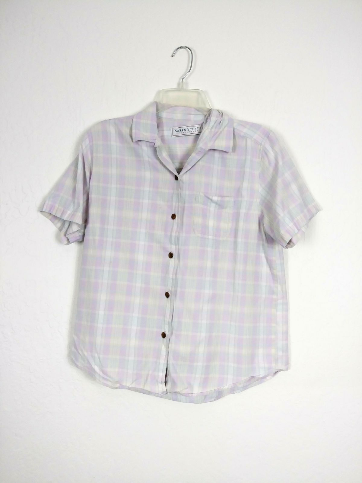 Vintage Pastel Plaid Purple Button Up To