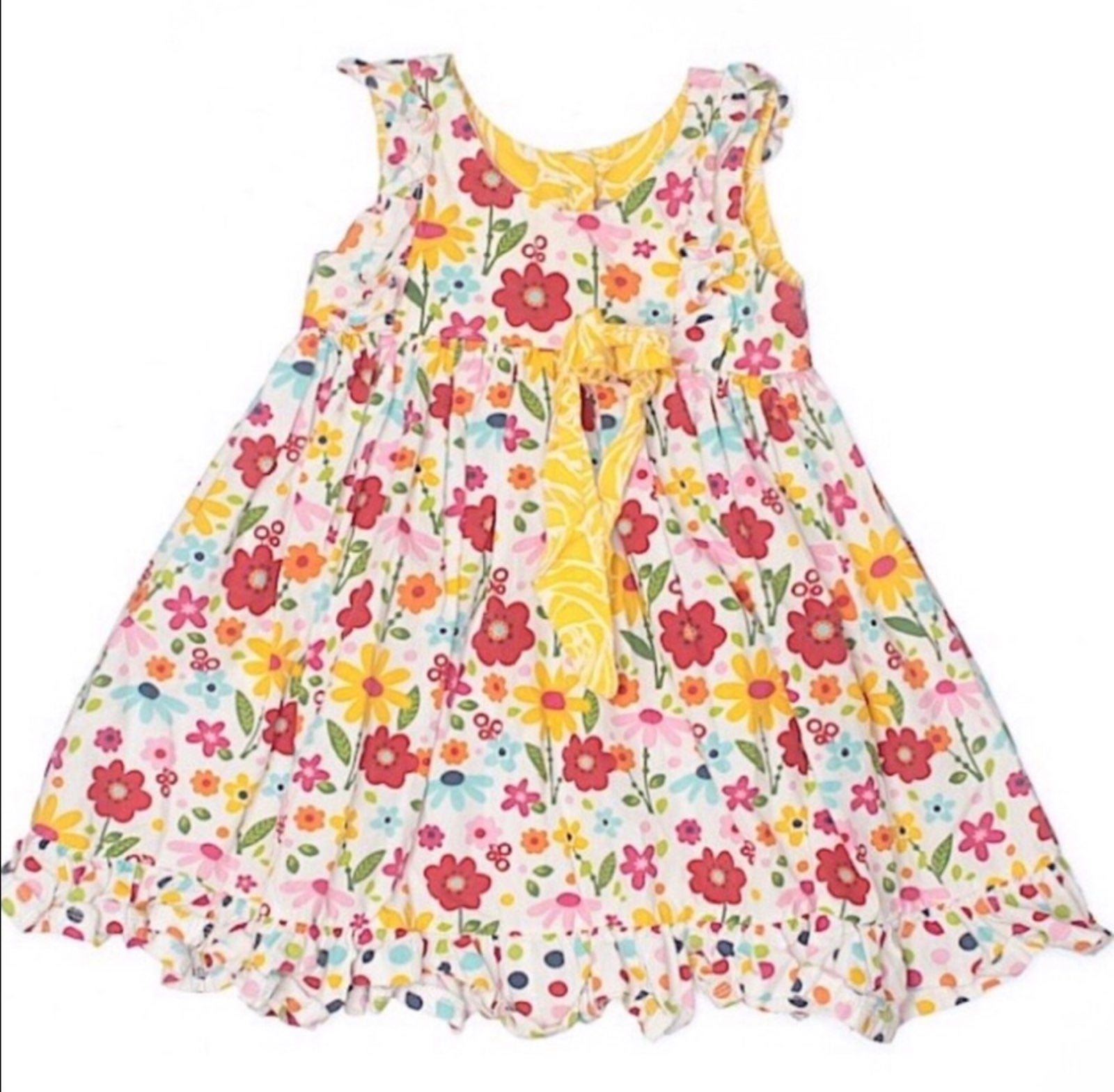 Jelly the Pug Floral Ruffled Sundress 2T