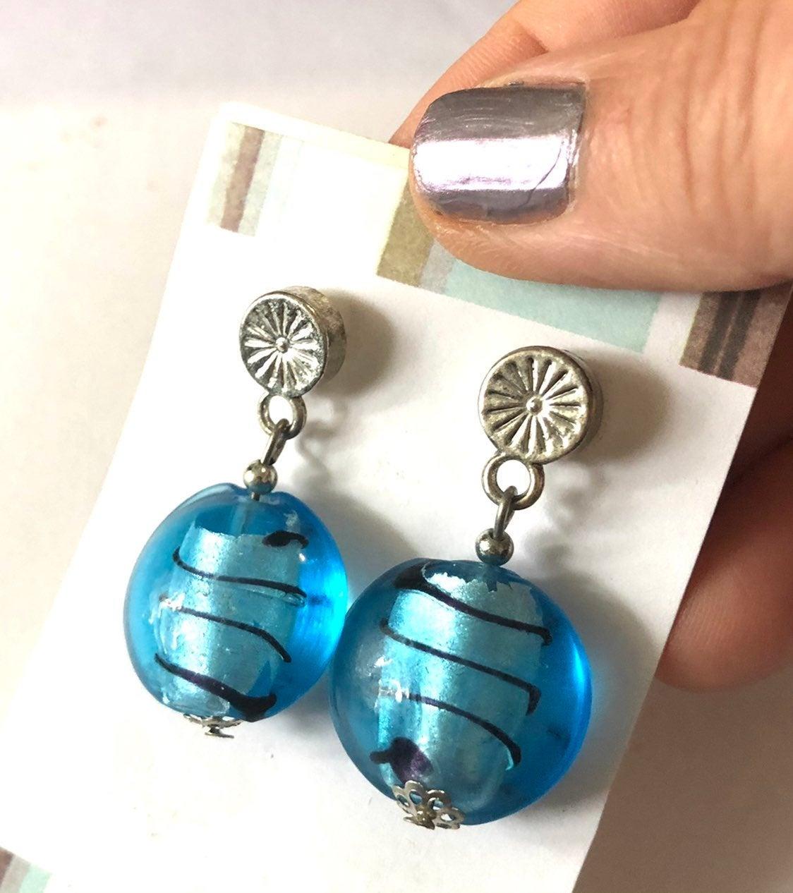 Blue Earrings - pierced lampwork jewelry