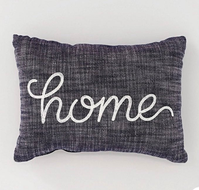 HOME gray throw pillow