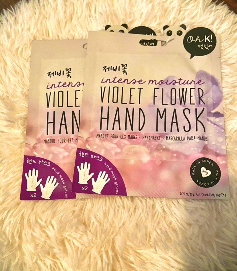 Violet flower hand mask