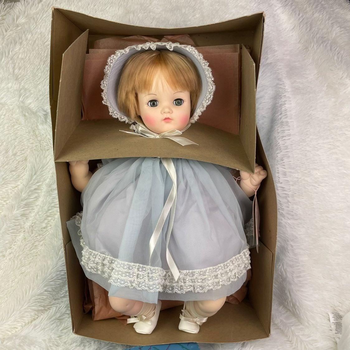 Vintage Madame Alexander Mommies Pet Bonnet, Blond Hair Blue Eyes Baby Doll 7140