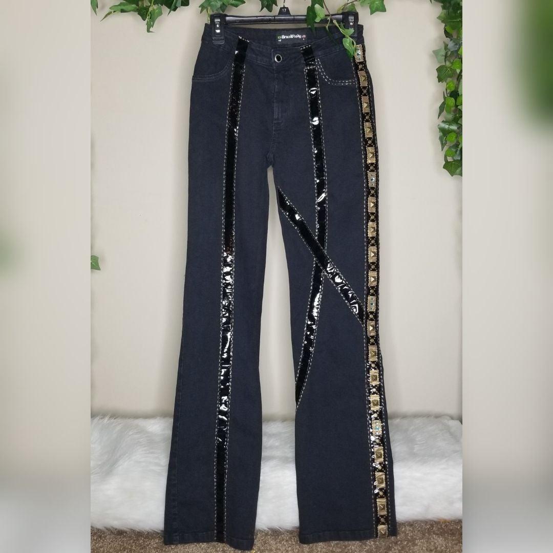 Brazilroxx Jeans Sz 4 Bling Leather Rare
